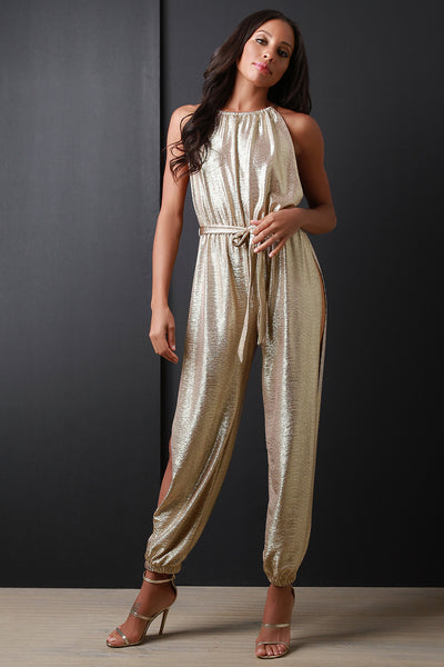 Metallic Gold Side Slit Jumpsuit