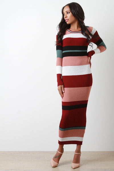 Striped Ribbed Knit Bodycon Maxi Dress