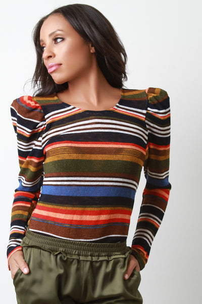 Colorful Stripes Padded Shoulder Top