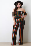 Striped Print Crop Top With Wide Leg Pants Set