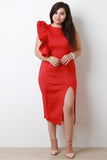 Single Ruffle Sleeve Slit Midi Dress