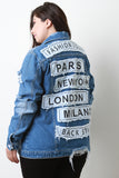 Fashion Tour City Patch Distressed Denim Jacket
