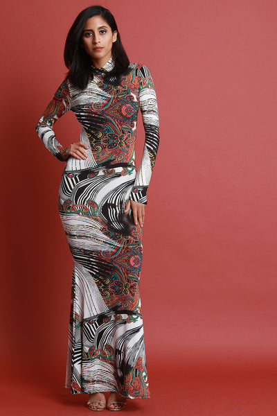 Abstract and Paisley Print Mock Neck Maxi Dress