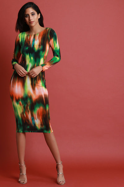 Abstract Print Long Sleeve Bodycon Midi Dress