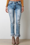 Distressed Acid Wash Frayed Hem Jeans