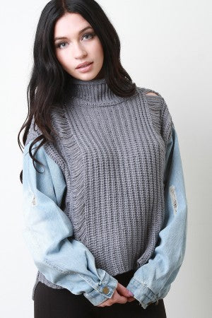 Shredded Turtle Neck Denim Sleeves Sweater