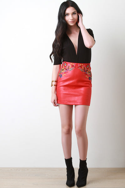 Embroidered Vegan Leather Mini Skirt