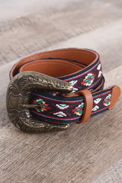 Vegan Leather Embroidered Tribal Western Buckle Belt