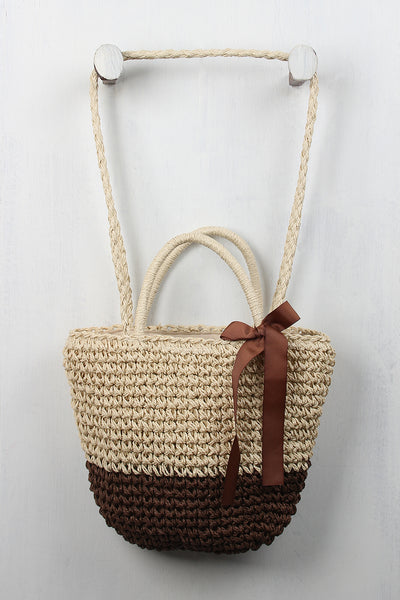 Two-Tone Straw Tote Bag