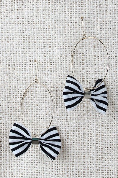 Striped Bows Hoop Earrings