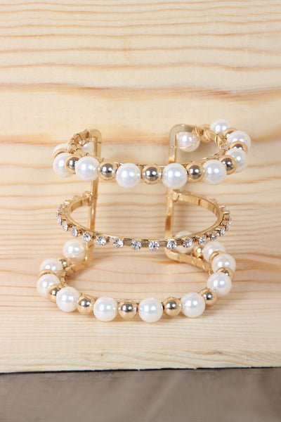 Triple Tier Pearls with Rhinestone Cuff Bracelet