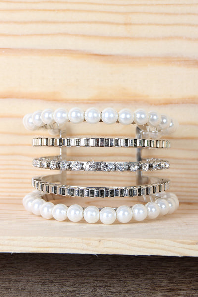 Four Tier Pearls with Rhinestone Cuff Bracelet