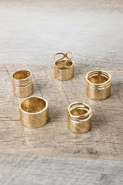High Polished Wide Band Ring Set