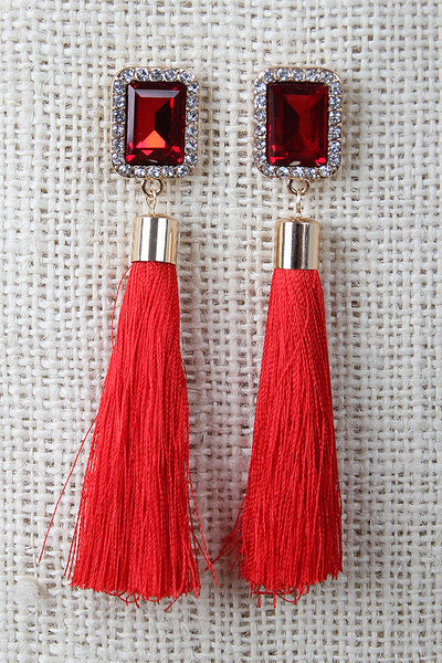 Baguette Stud Tassel Earrings