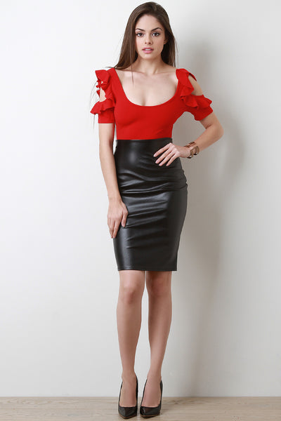 Vent Slit Vegan Leather Pencil Skirt