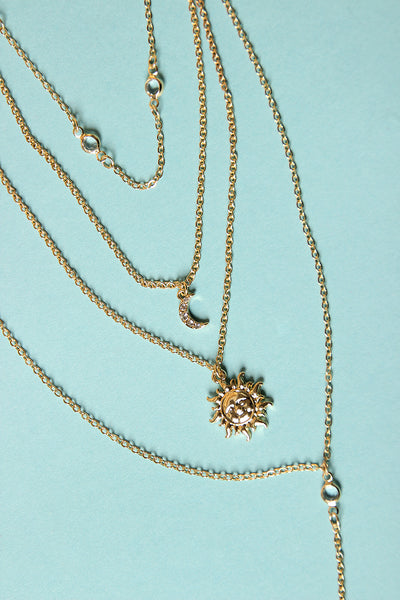 Moon Layered Lariat Necklace