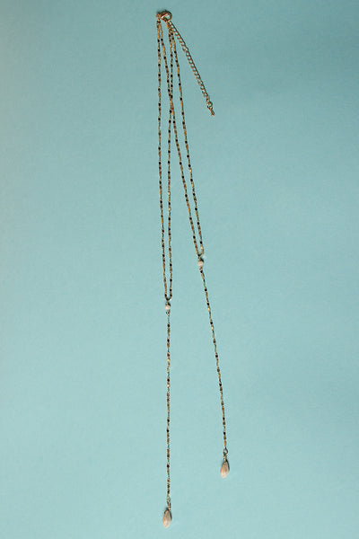 Faux Gems Layered Lariat Necklace