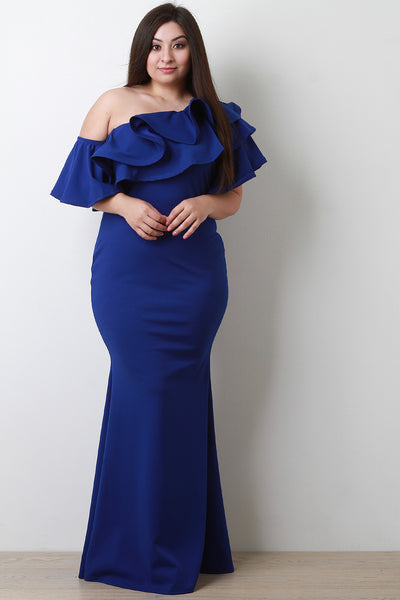 Ruffle Flutter One Shoulder Mermaid Maxi Dress