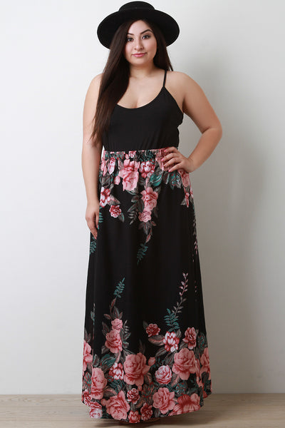 Floral Printed High Rise Side Slit Maxi Skirt