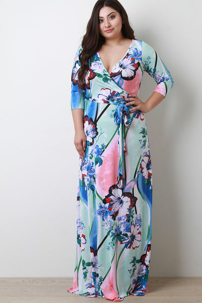 Floral Surplice Quarter Sleeves Maxi Dress