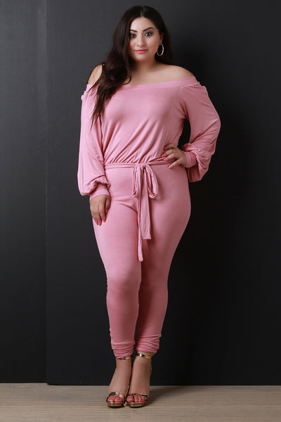Off The Shoulder Bishop Sleeve Waist Sash Jumpsuit