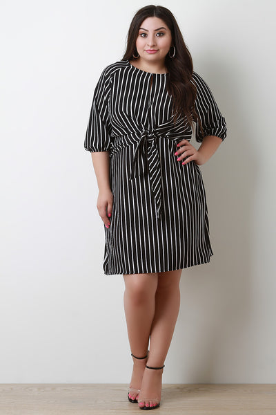 Stripe Tied Front Elbow Sleeves Shift Midi Dress