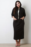 Front Pocket Drawstring Hooded Maxi Dress