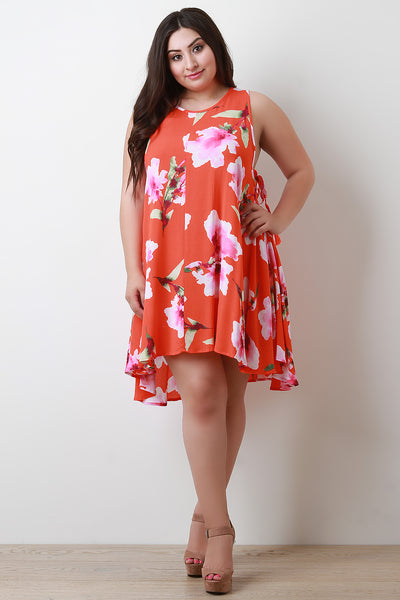 Floral Print Side Lace-Up Shift Dress