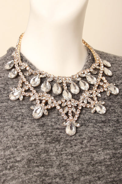Pear-Shaped Rhinestone Statement Necklace
