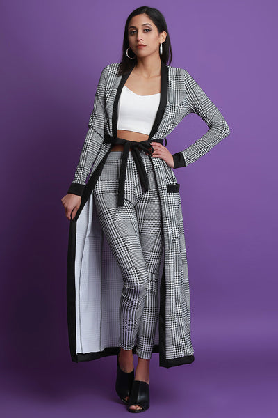 Plaid Waist-Tie Cardigan with High Waisted Pants Set