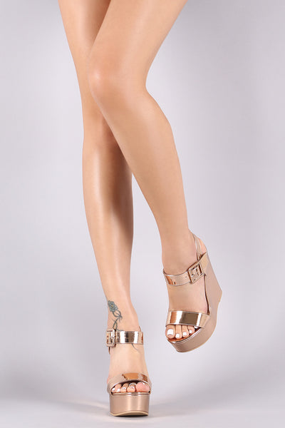 Mirror Metallic Patent Buckled Ankle Strap Platform Wedge