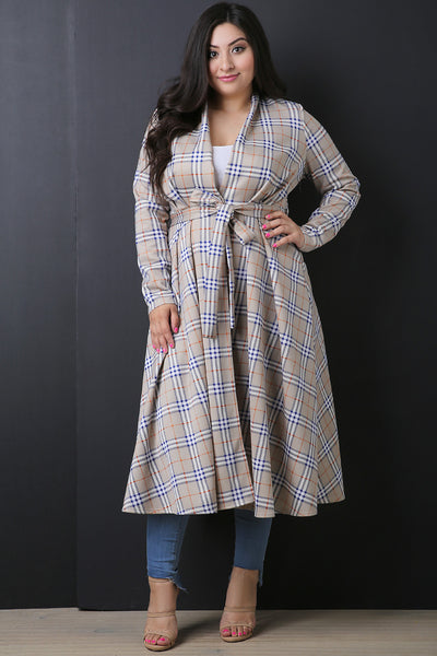 Plaid Waist-Tie Flare Trench Coat