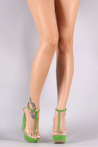 Ankle T-Strap Clear Band Platform Wedge