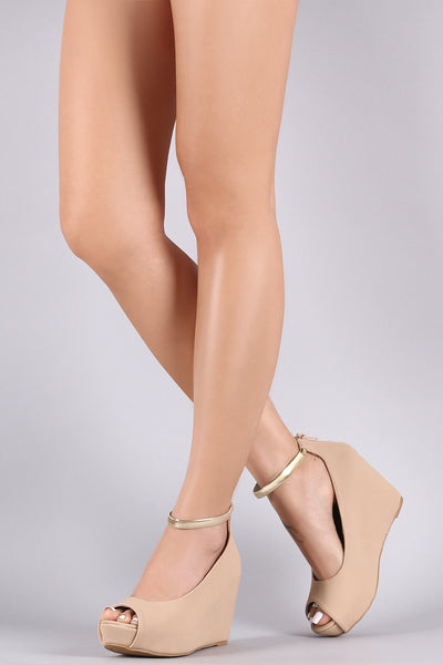 Nubuck Peep Toe Metallic Ankle Strap Platform Wedge