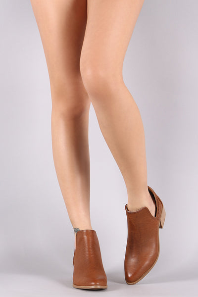 Qupid Burnished Split Shaft Booties