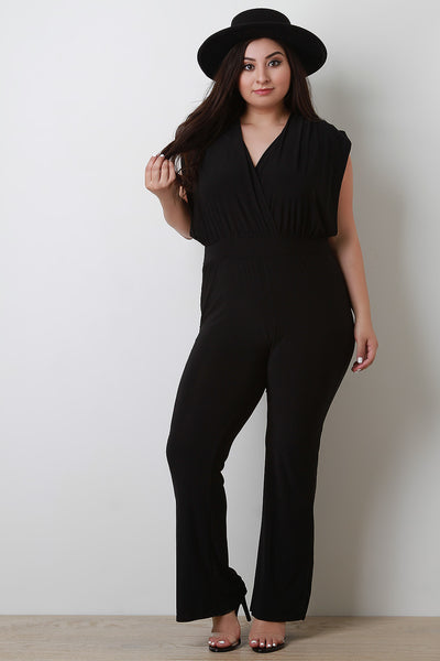 Stretchy Surplice Back Tie Jumpsuit