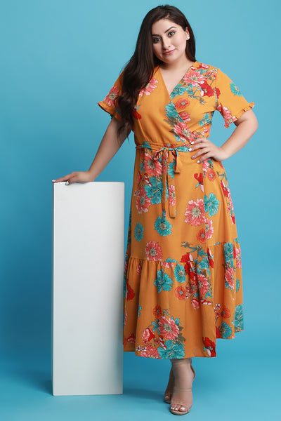 Floral Surplice Maxi Wrap Dress