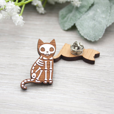 Skeleton Cat Pin - IttyBittyFox