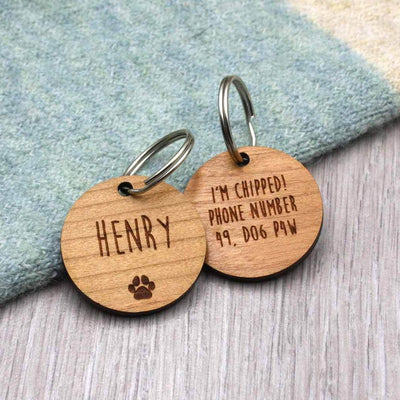 Wooden Paw Print Personalised Pet Tag - IttyBittyFox