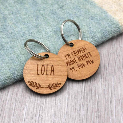 Wooden Laurel Wreath Dog Tag - IttyBittyFox