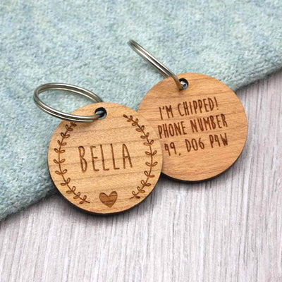 Wooden Wreath and Heart Personalised Dog Tag - IttyBittyFox