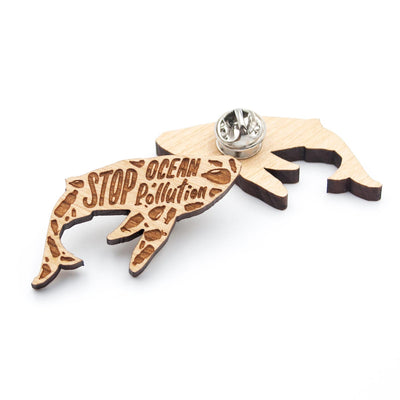 Stop Ocean Pollution Whale Pin - IttyBittyFox