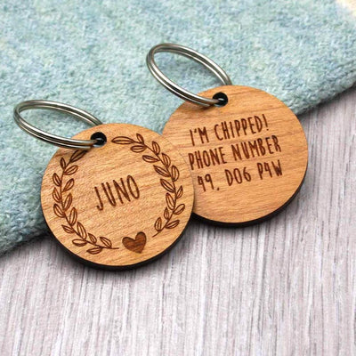 Wooden Floral Wreath Personalised Dog Tag - IttyBittyFox
