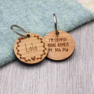 Flower Wreath Wooden Dog Tag - IttyBittyFox