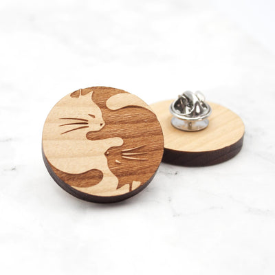 Yin and Yang Cats Pin - IttyBittyFox