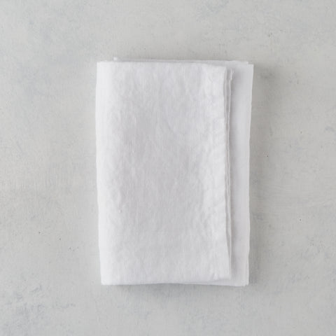 WHITE LINEN HAND TOWEL