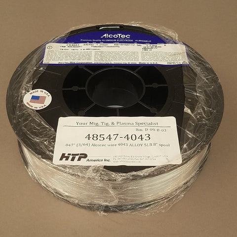 "Made in the U.S.A.! Alcotec® ER4043 Aluminum MIG Welding Wire, 5 Lb, 8"" Spool"