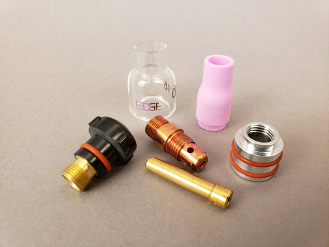 EDGE® #4 EXP Mini Collet Body Pyrex Cup Kit for 17, 18, & 26 Series TIG Torches