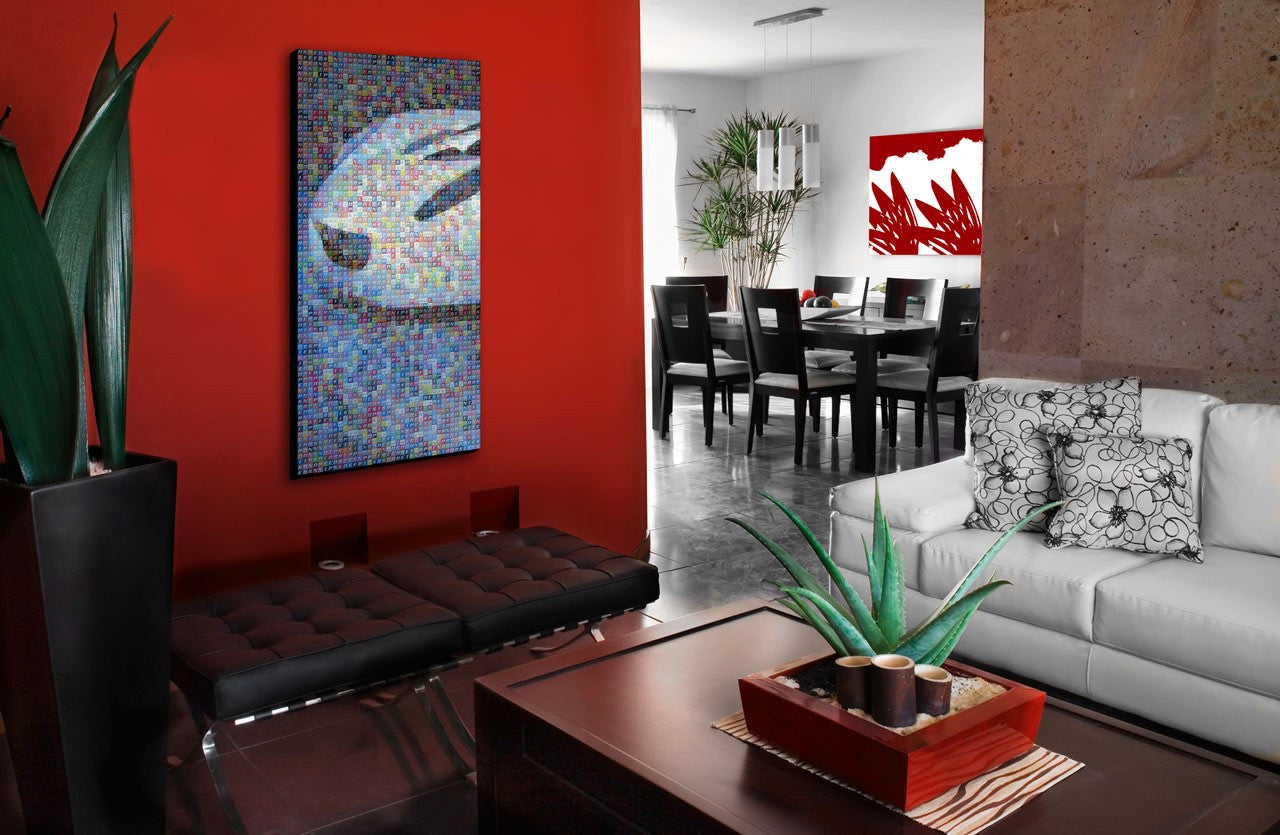 Red Wall And Rec Accent Accessories In A Living And Dining Room