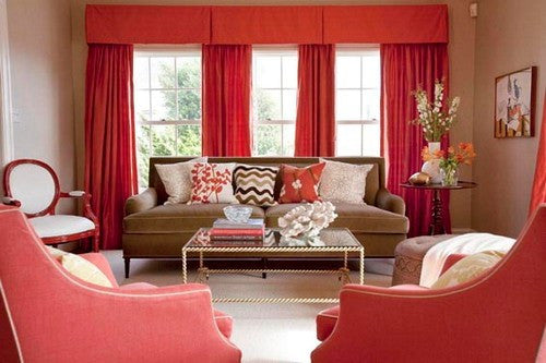 Red Living Room, With Red Curtains, Cushions And Chairs